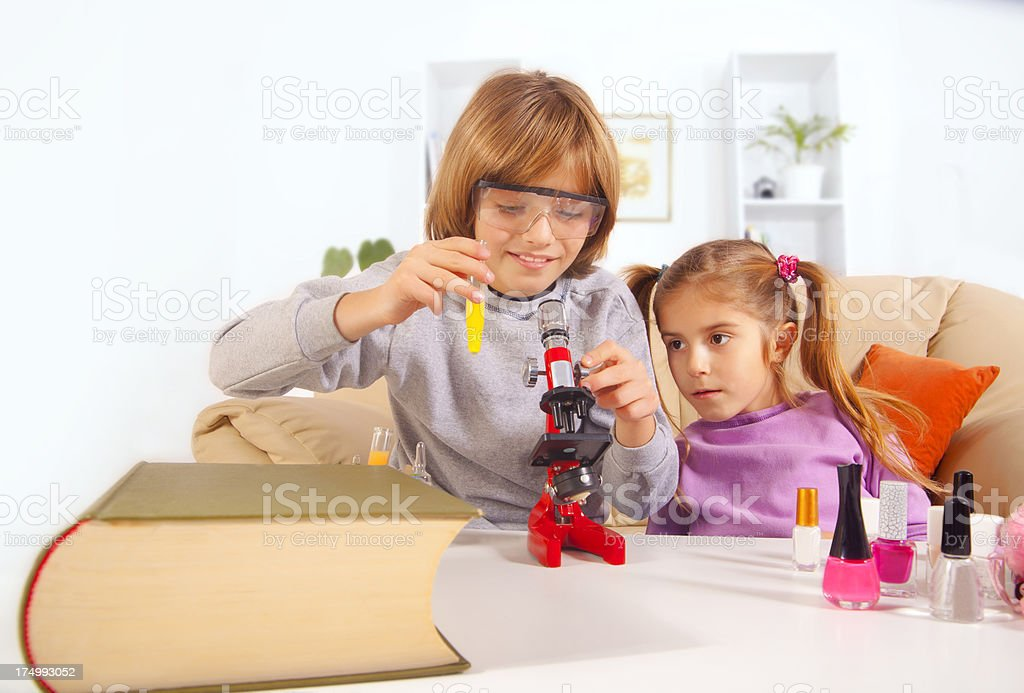 Kids Playing In Living Room royalty-free stock photo