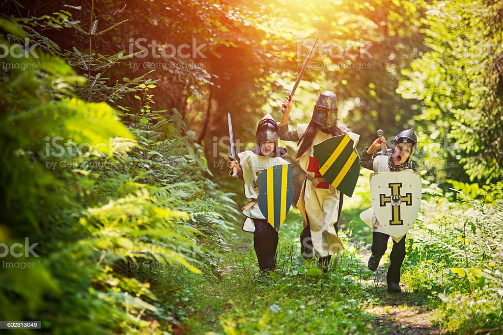 Kids playing knights in forest stock photo