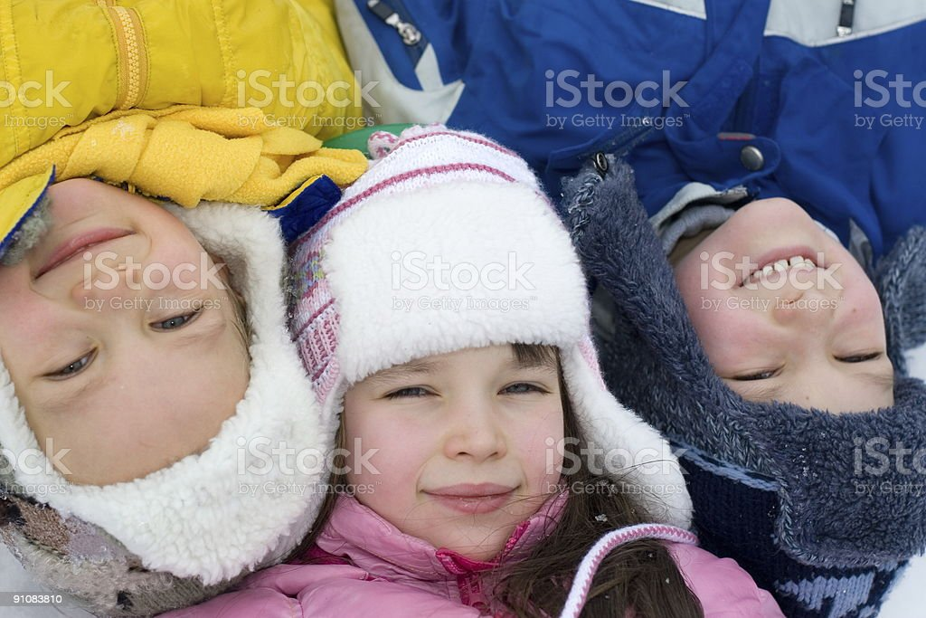 Kids Playing On a Winter Day royalty-free stock photo