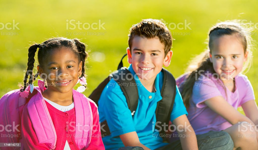 Kids playing outside stock photo