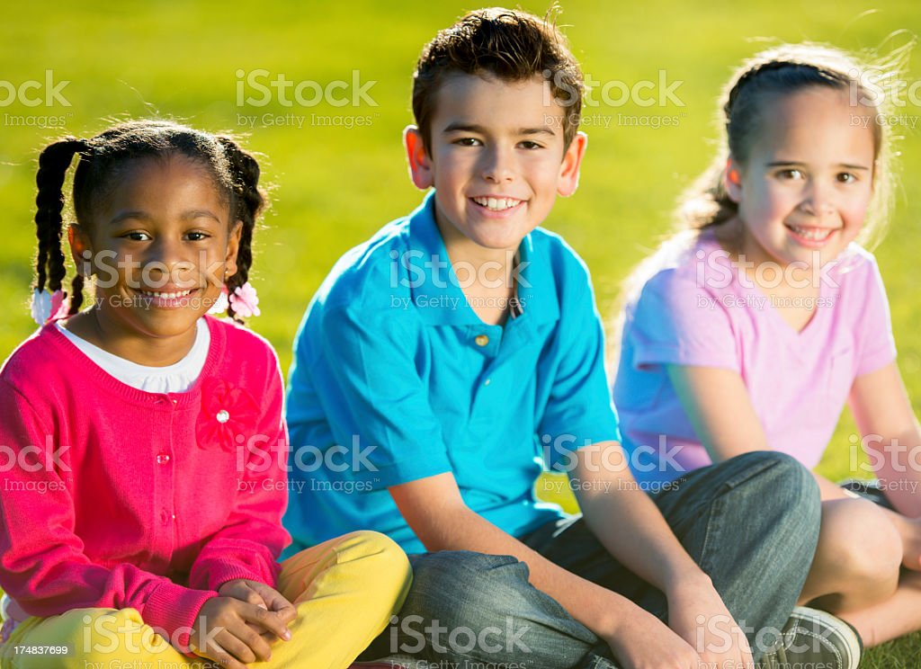 Kids playing outside royalty-free stock photo