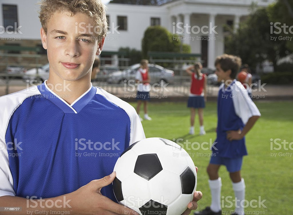 Kids playing soccer royalty-free stock photo
