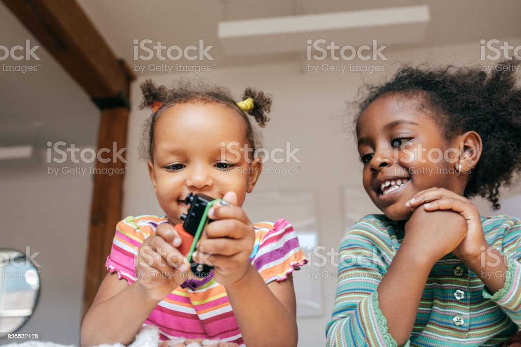Kids playing together stock photo