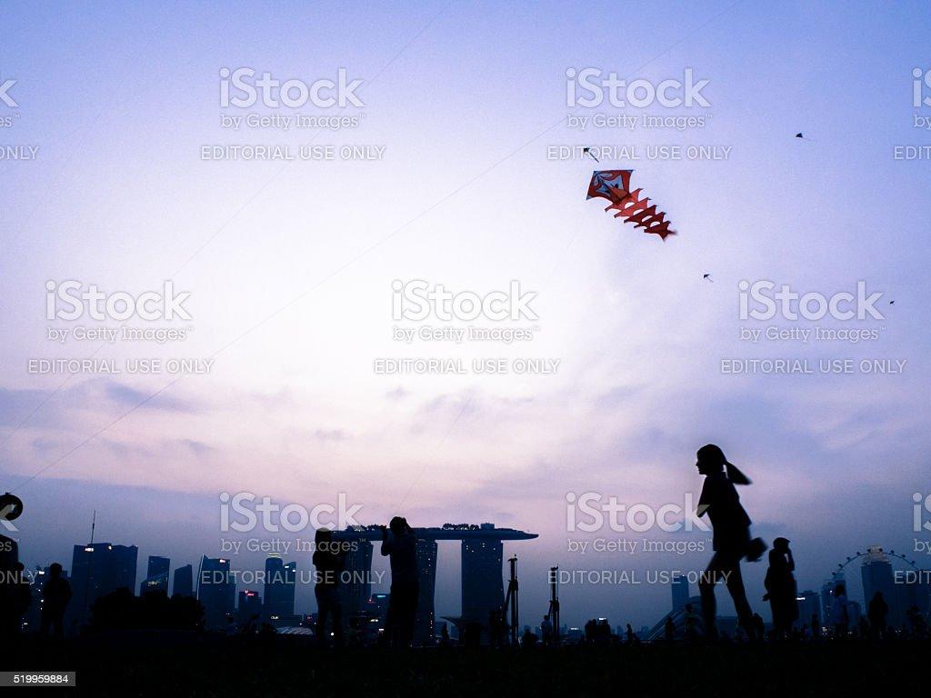 Kids playing with kite stock photo