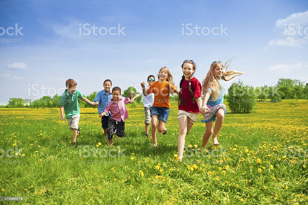 Kids racing stock photo