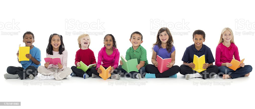 Kids reading and laughing stock photo