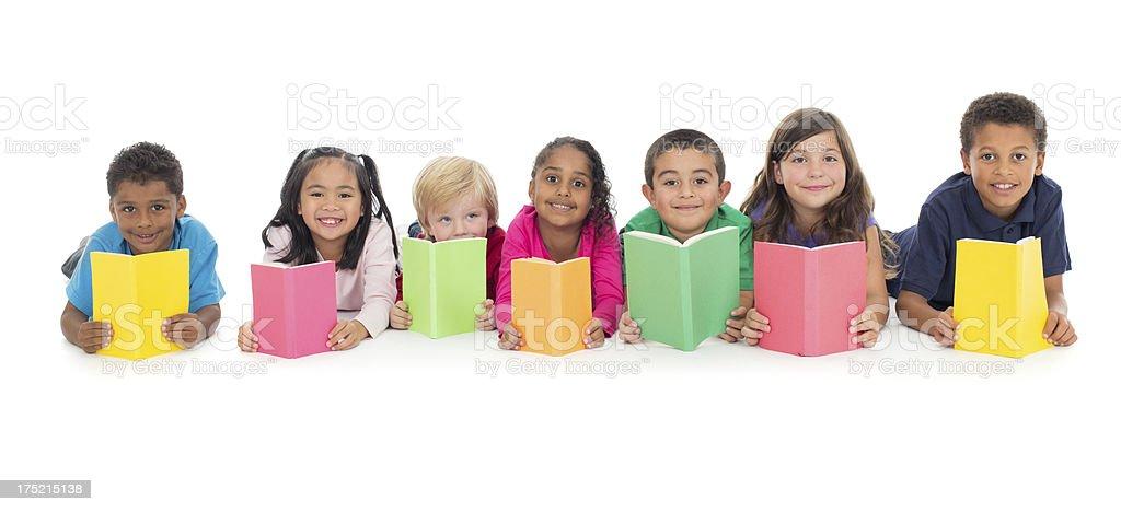Kids reading stock photo