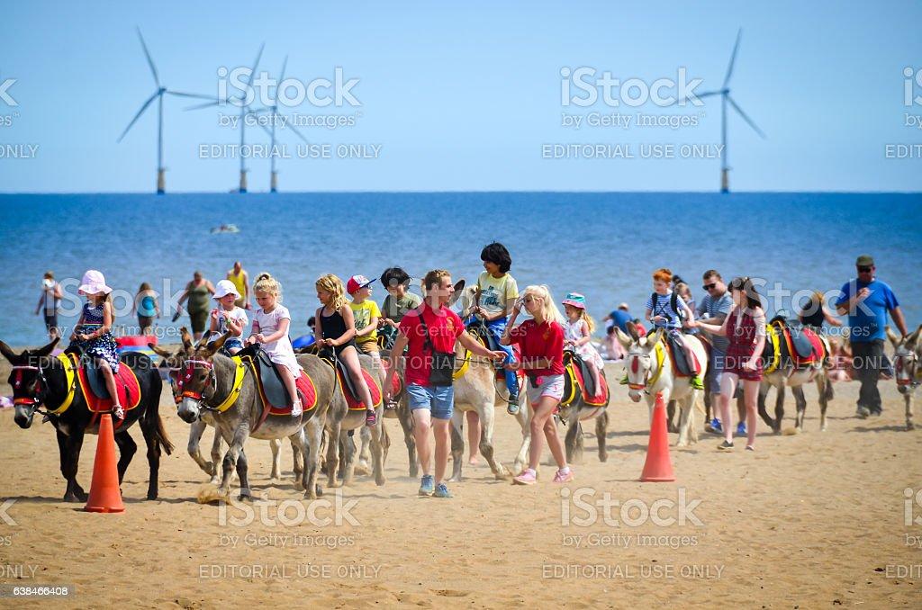 Kids riding on donkey stock photo