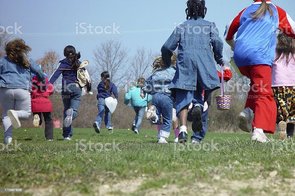 Kids Running Away stock photo