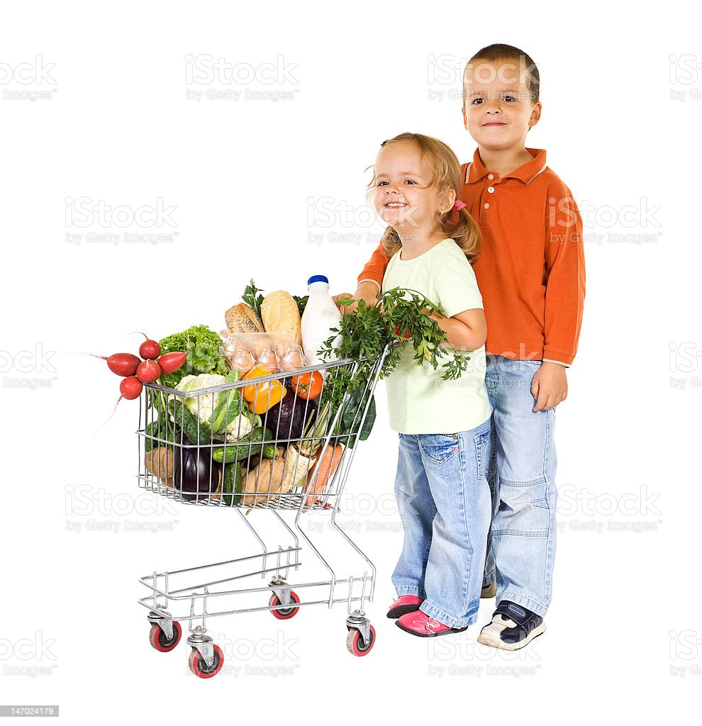 Kids shopping healthy food royalty-free stock photo