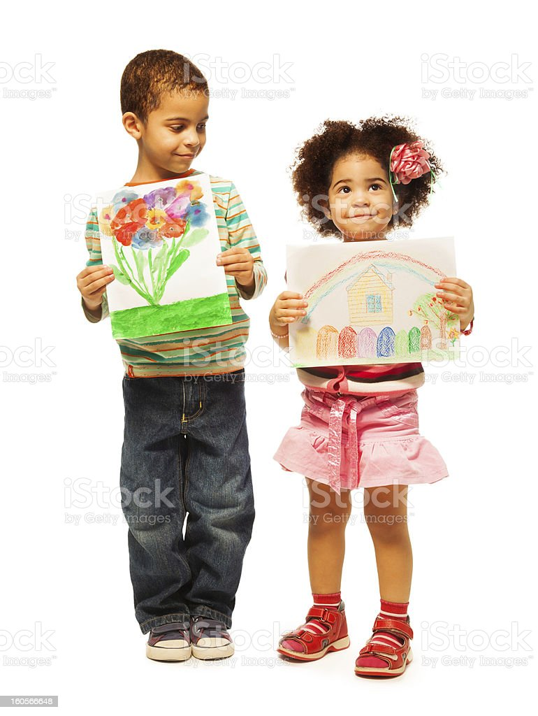 Kids show their paintings stock photo