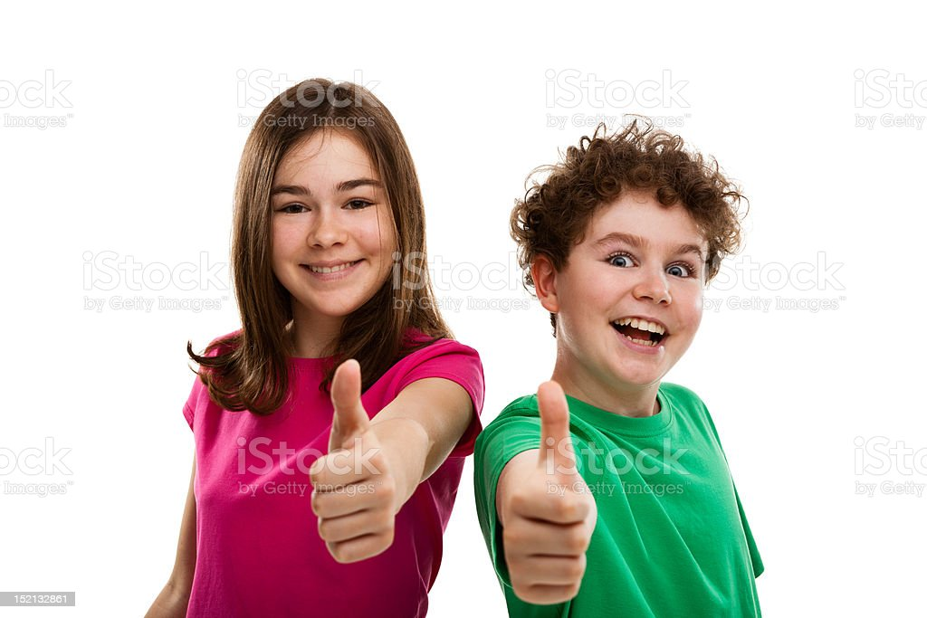 Kids showing OK sign isolated on white royalty-free stock photo