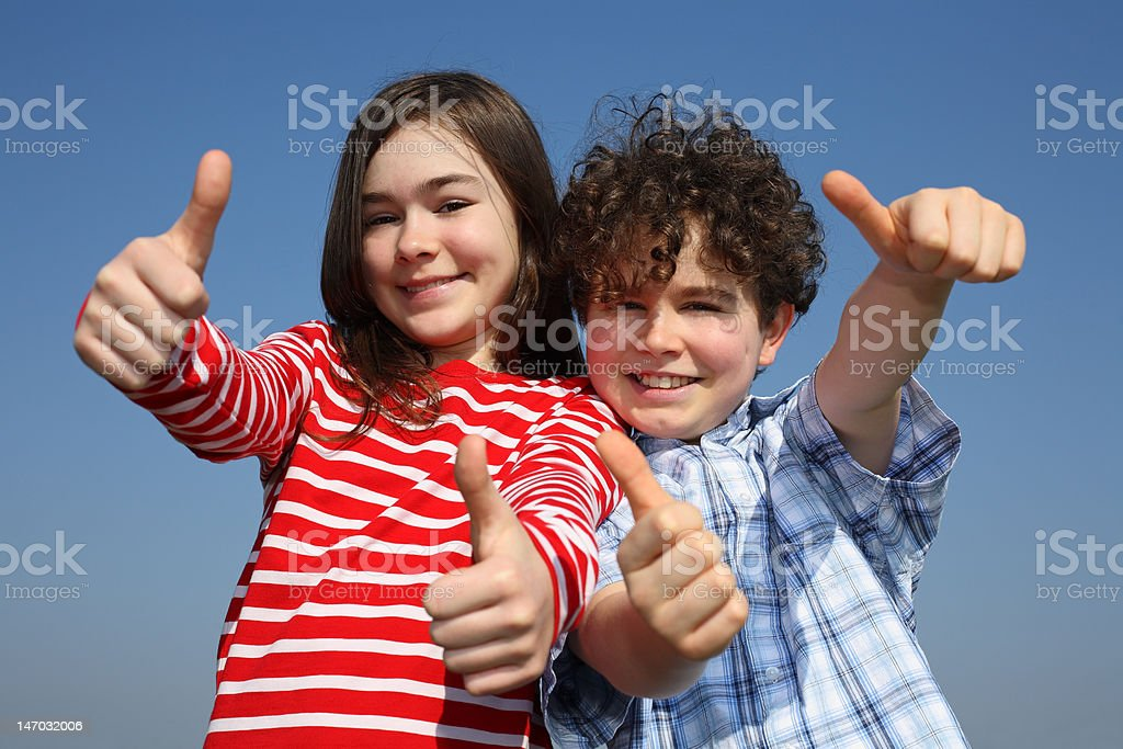 Kids showing Ok sign outdoor royalty-free stock photo