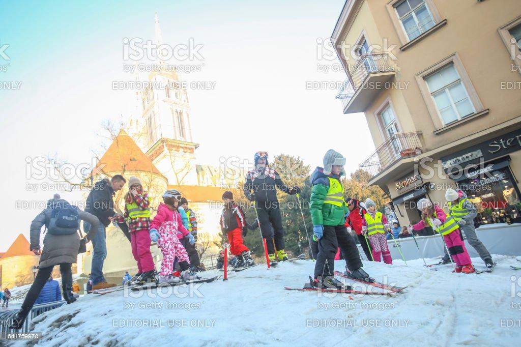Kids skiing in Zagreb stock photo