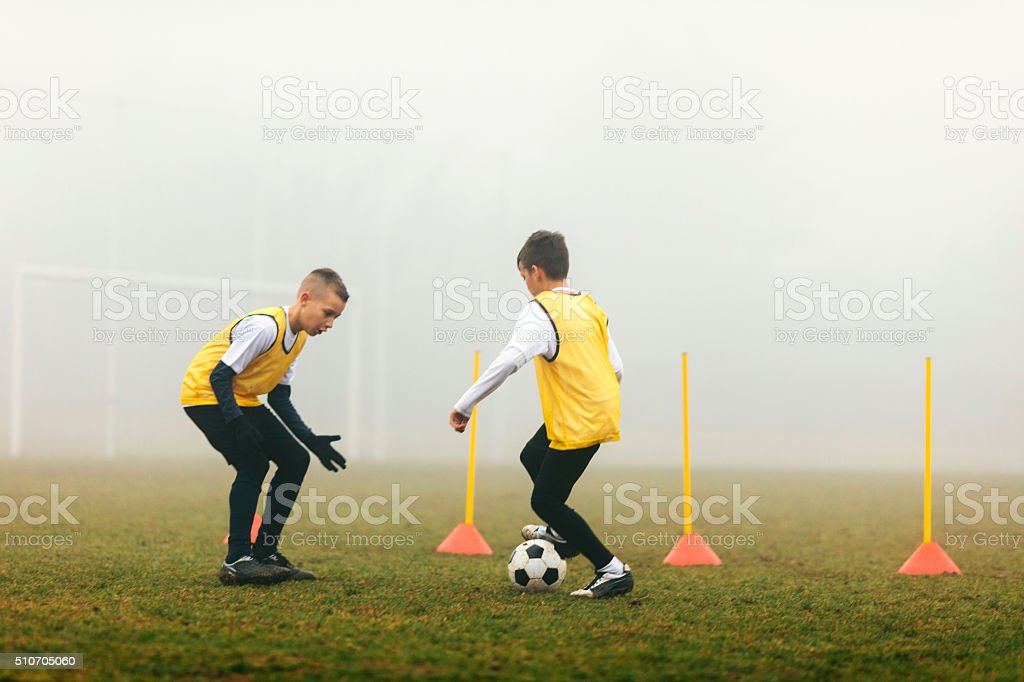 Kids Soccer Agility Training stock photo