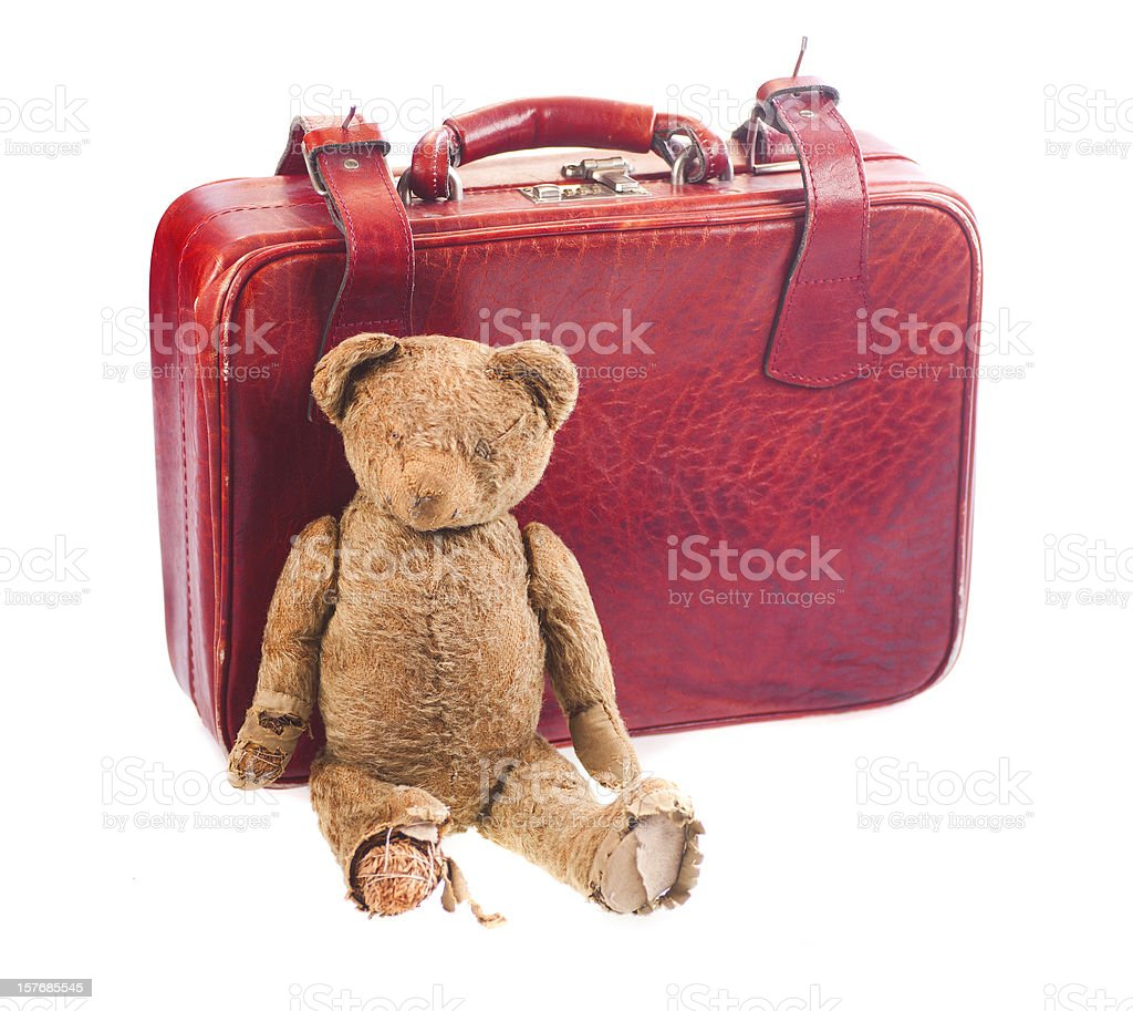 kids suitcase with bear royalty-free stock photo