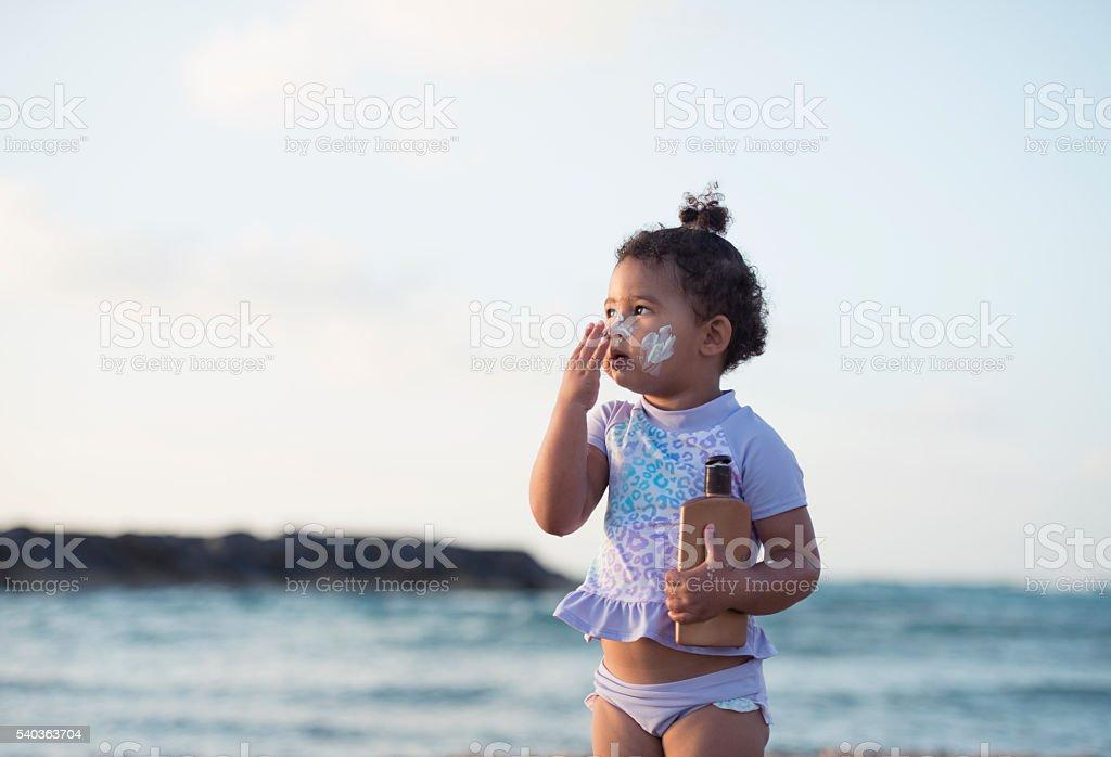 Kid's sun protection. stock photo