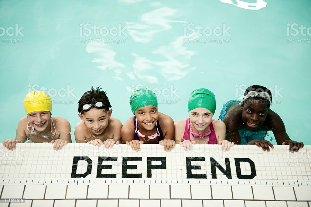 Kids swim team at the pool royalty-free stock photo