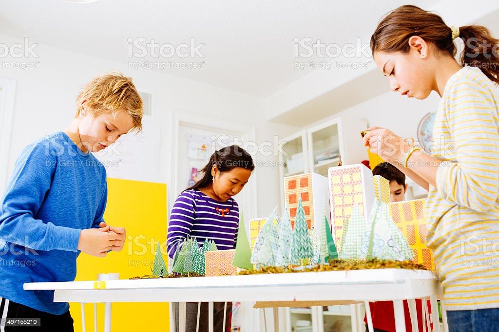 Kids teamwork stock photo