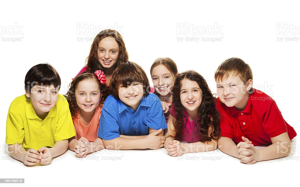 Kids together on the floor royalty-free stock photo