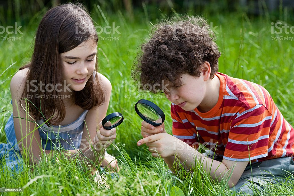 Kids using magnifying glass outdoor royalty-free stock photo