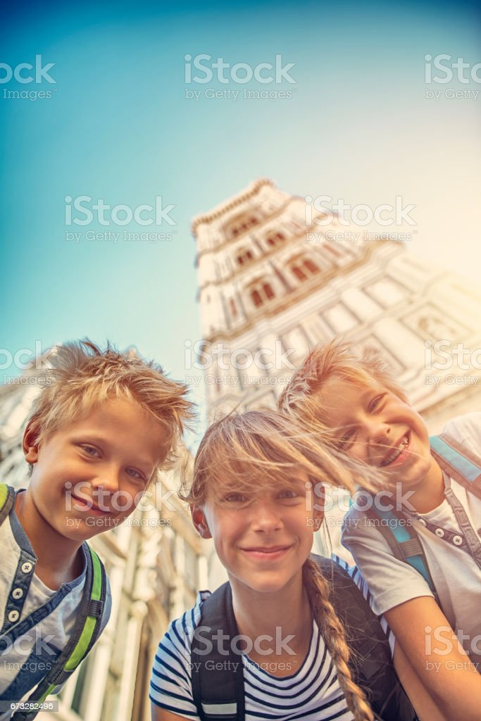 Kids visiting Florence stock photo