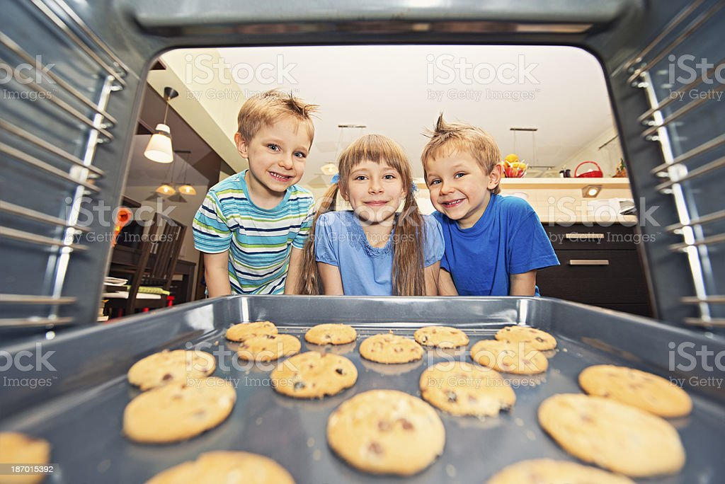 Kids waiting for cookies stock photo