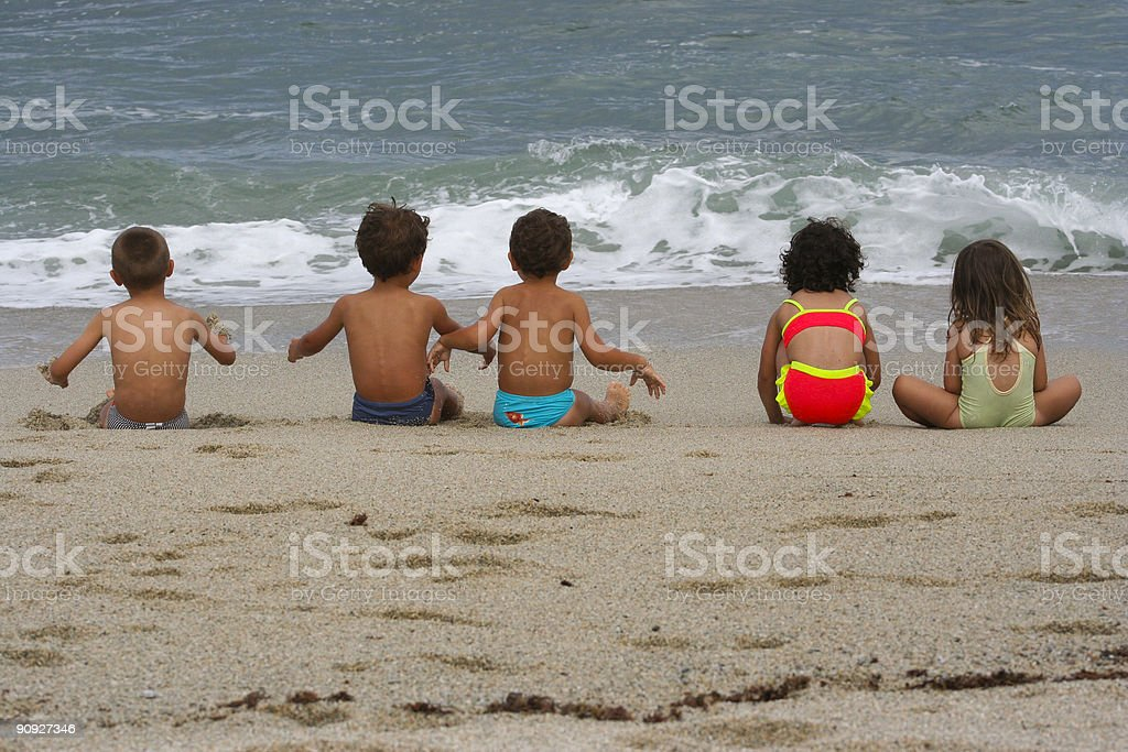 Kids waiting for fun stock photo
