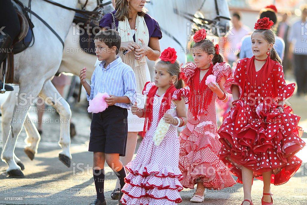 kids walkign around during the April Fair stock photo