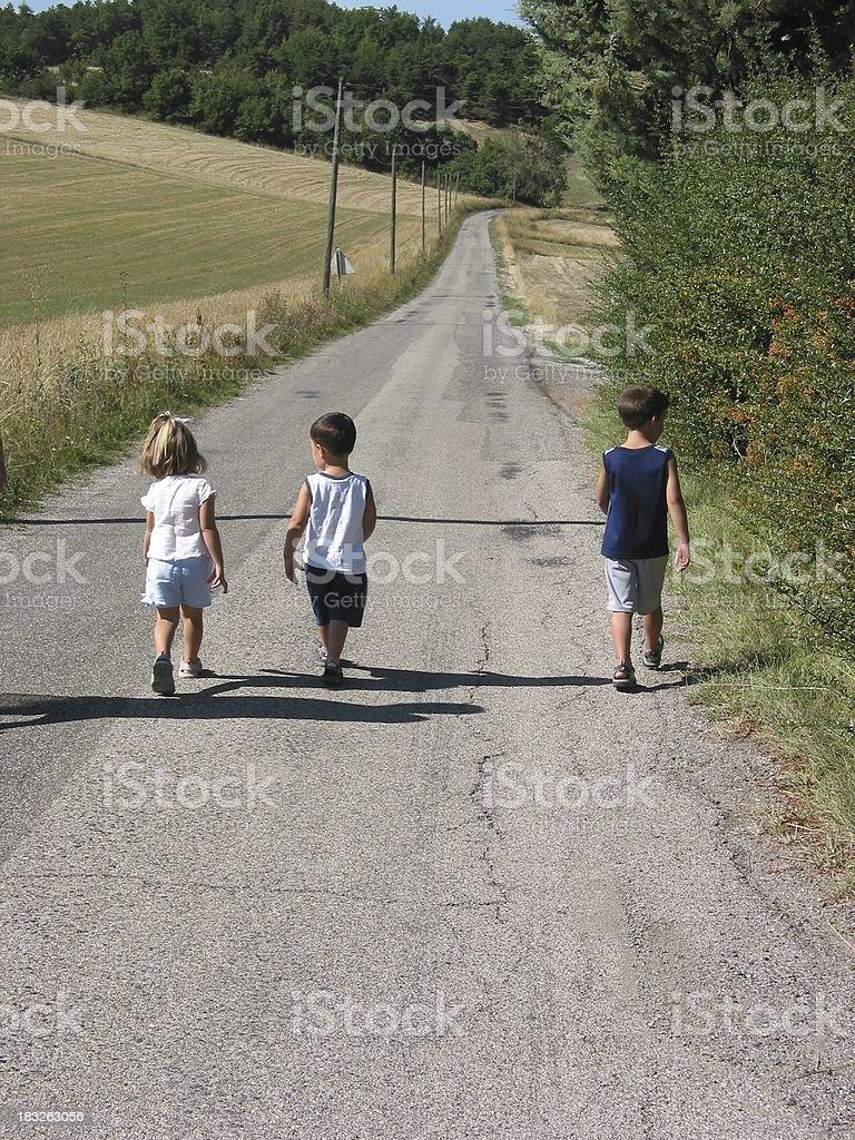Kids Walking stock photo