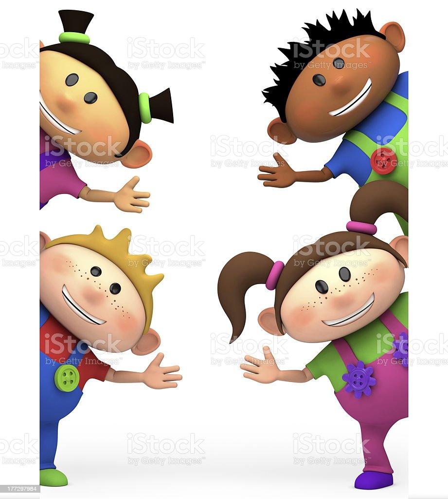 kids waving stock photo