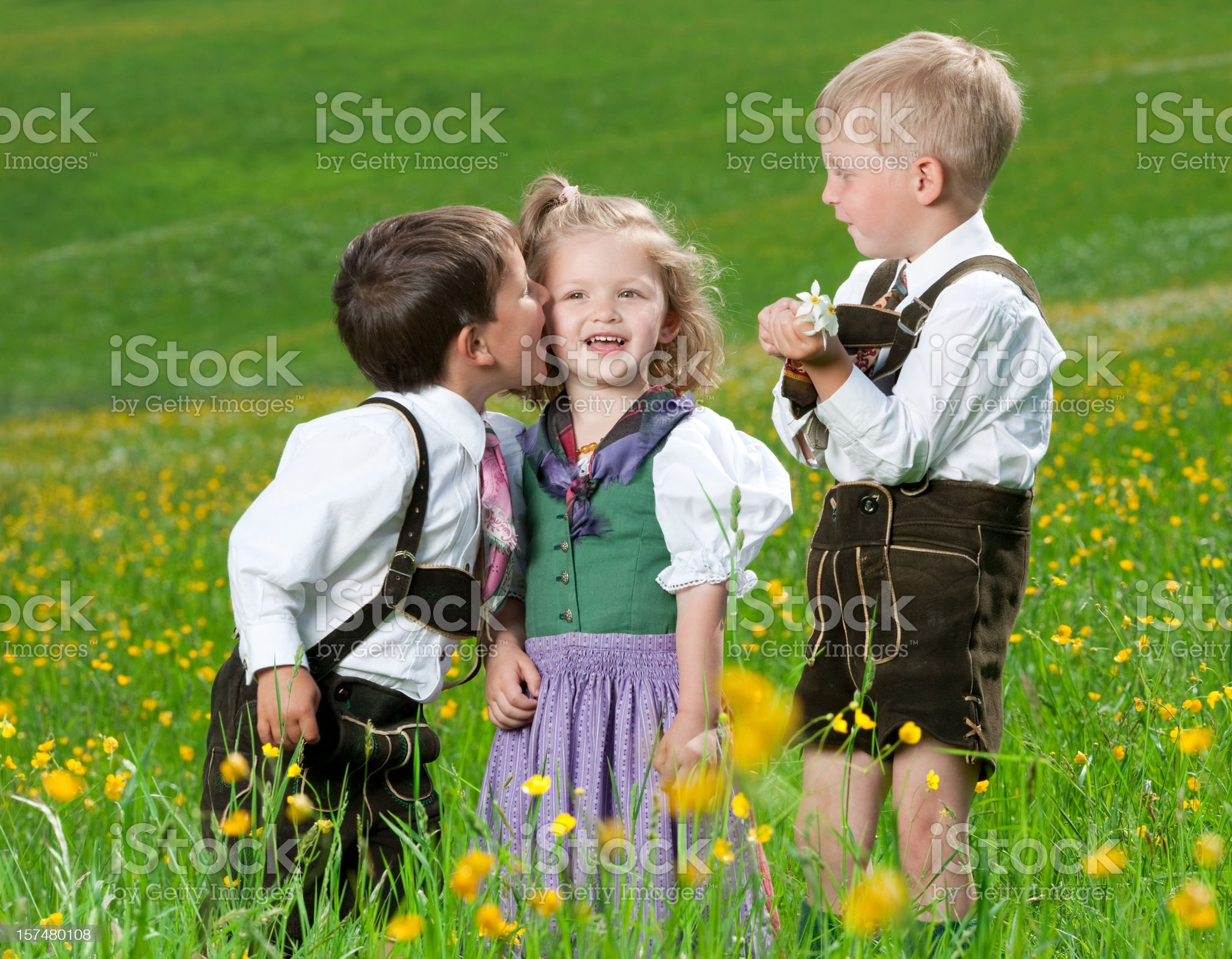 Kids whispering - let me tell you a secret royalty-free stock photo