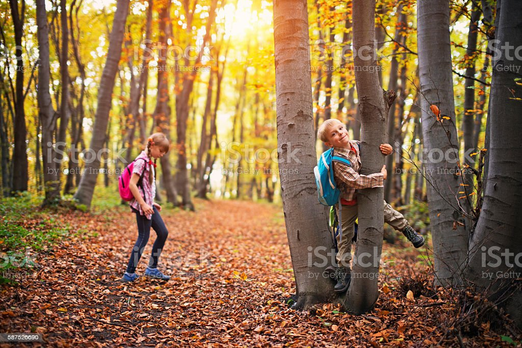 Kids with backpacks playing in autumn forest stock photo