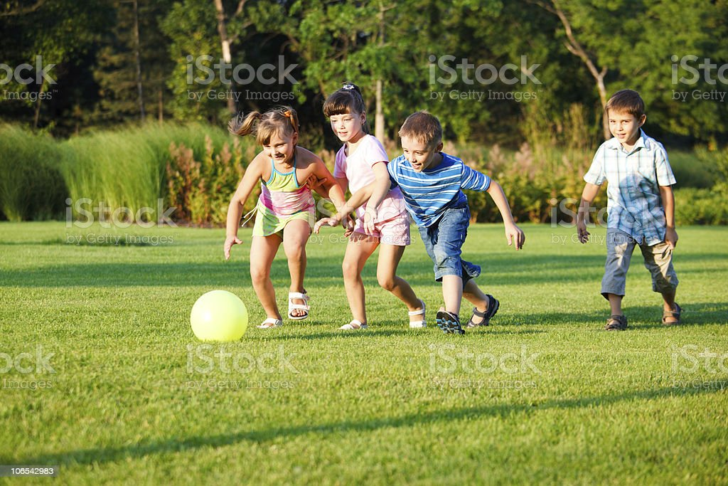 Kids with ball stock photo