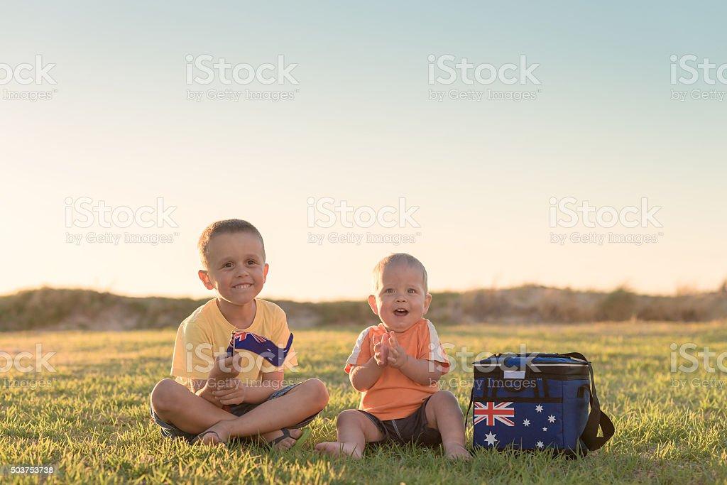 Kids with flag of Australia stock photo