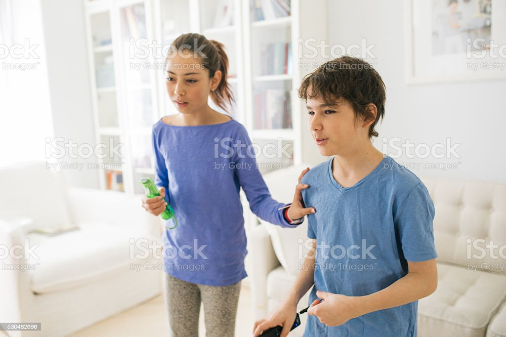 Kids with gadgets stock photo