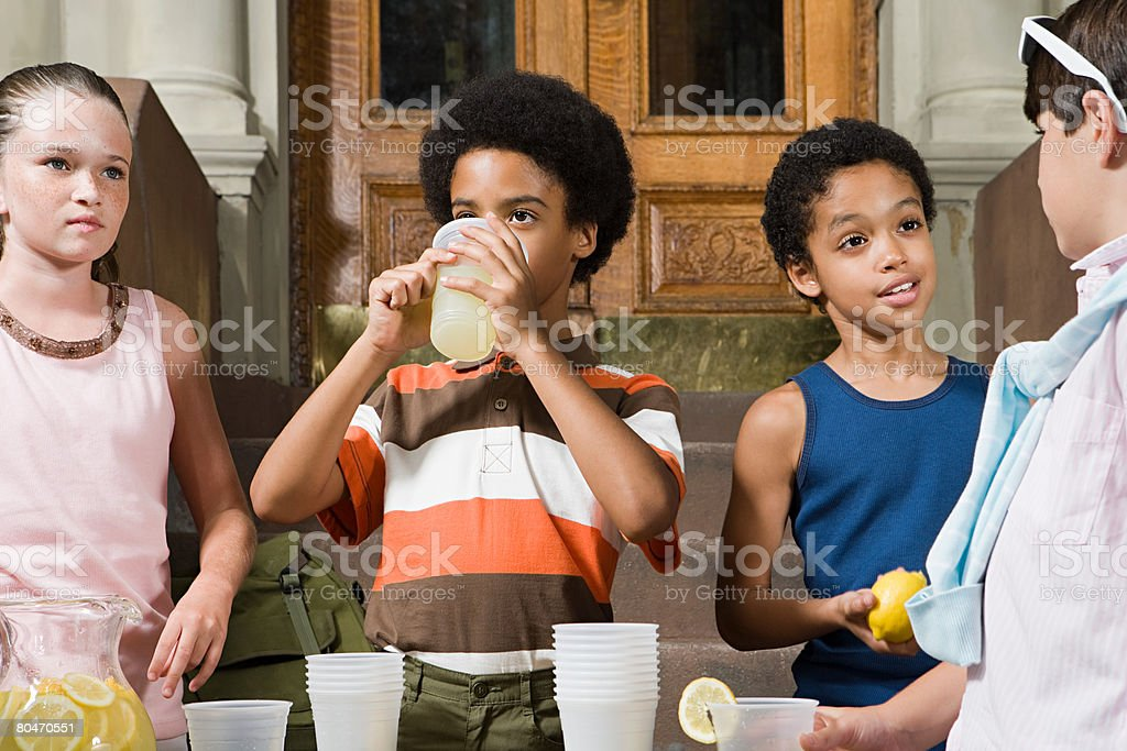 Kids with lemonade royalty-free stock photo