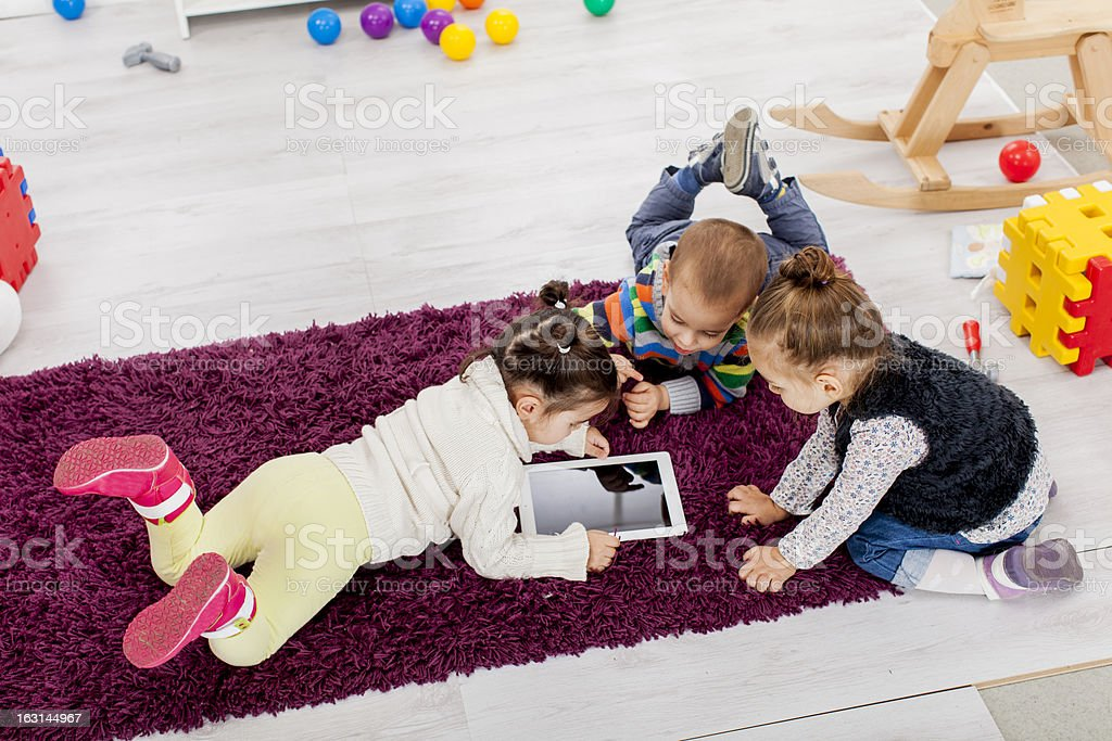 Kids with tablet royalty-free stock photo