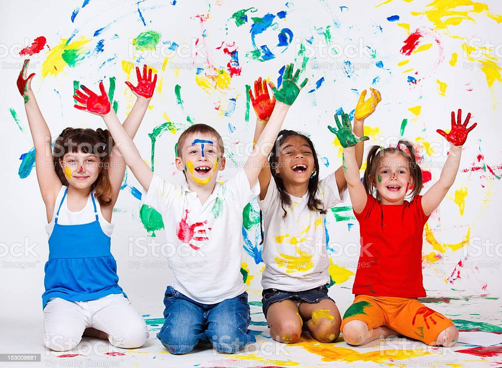 Kids with their palms and clothing painted stock photo