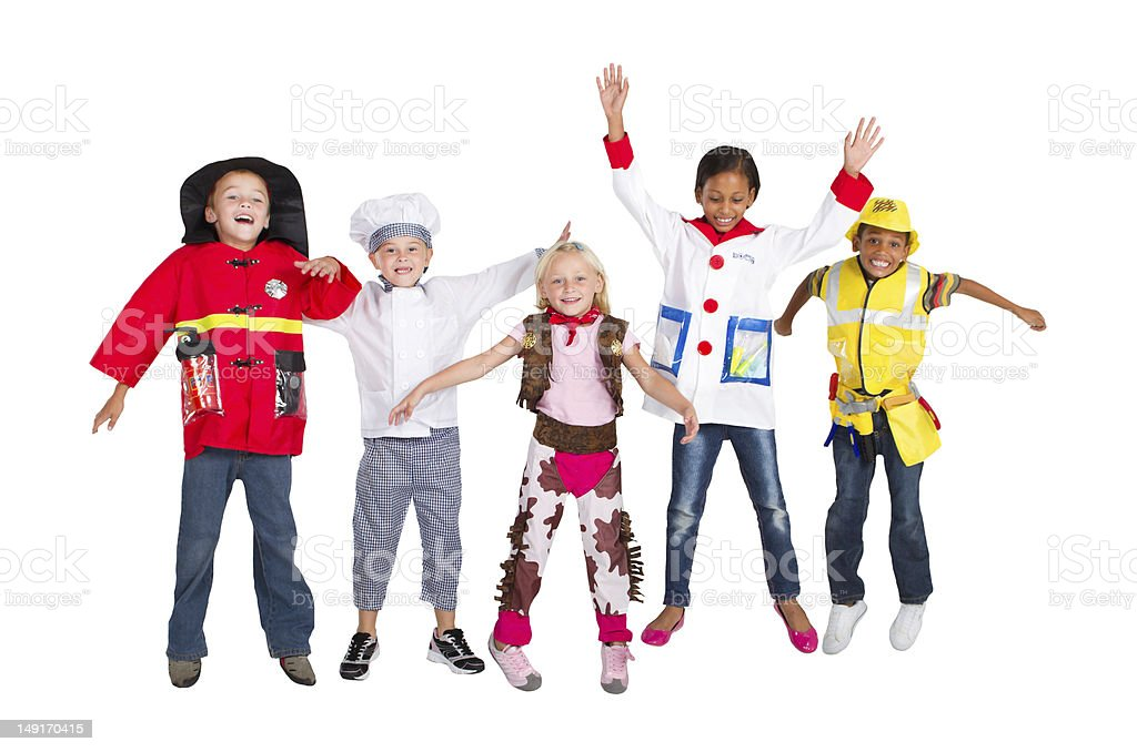 kids worker jumping stock photo