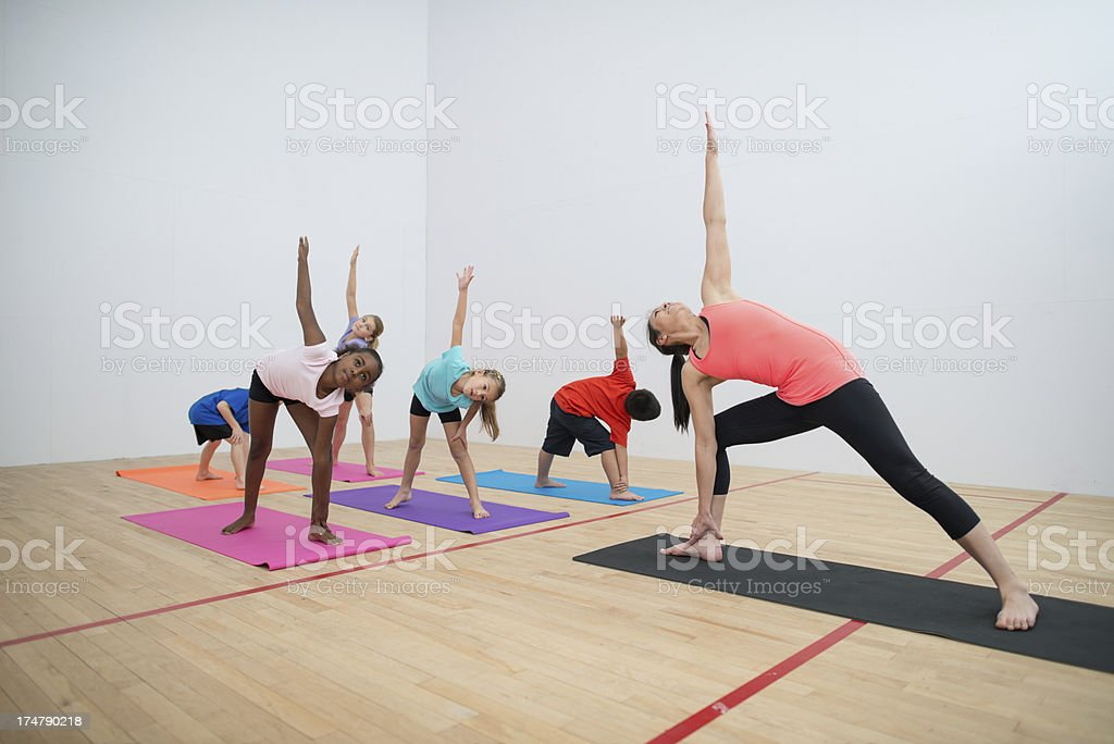 Kids yoga. stock photo