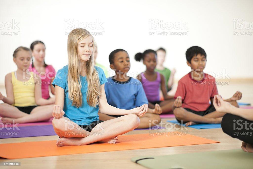 Kids Yoga royalty-free stock photo