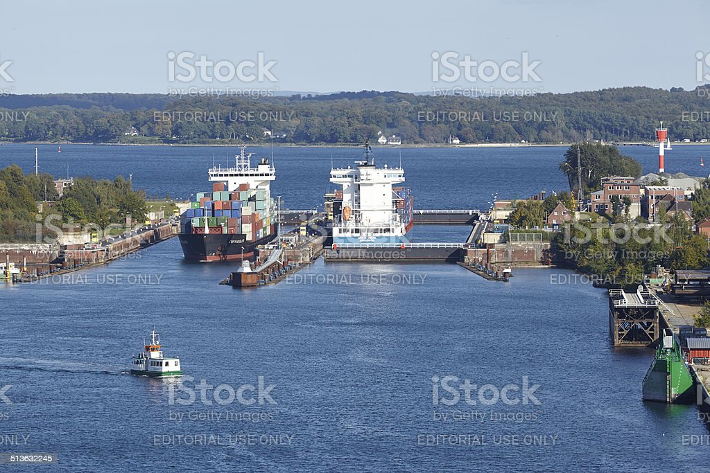 Kiel - Container vessels at the lock Kiel-Holtenau stock photo