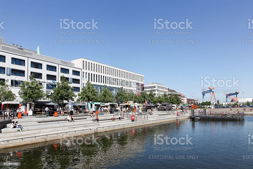 Kiel downtown and harbor in Germany stock photo