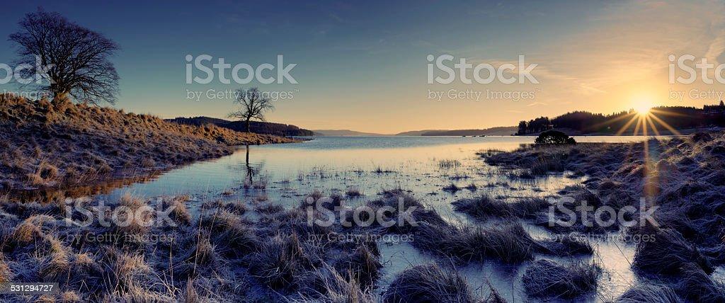 Kielder Water Sunrise stock photo
