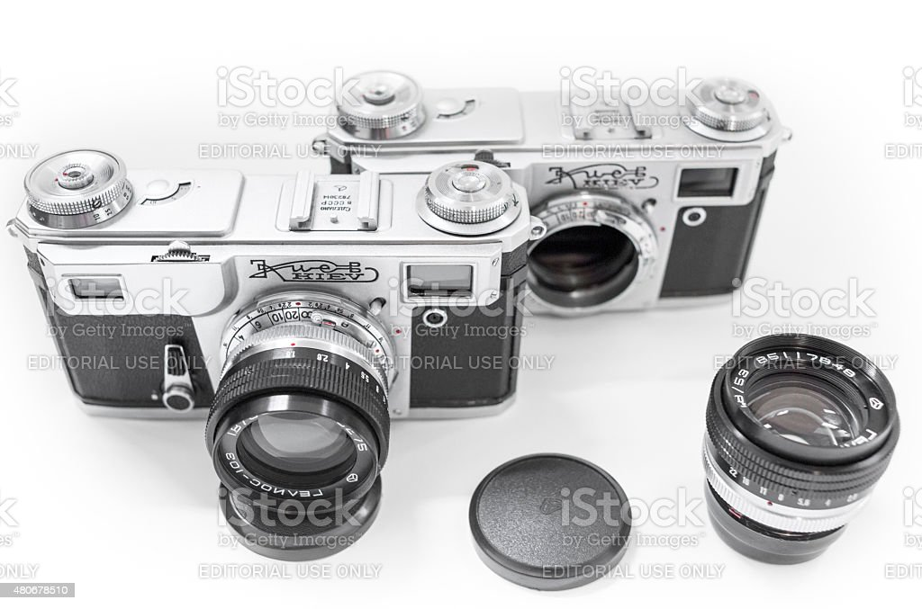 Kiev 4A camera with Helios 103 lens stock photo