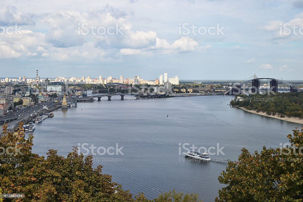 Kiev and the Dnieper River with a new bridge stock photo