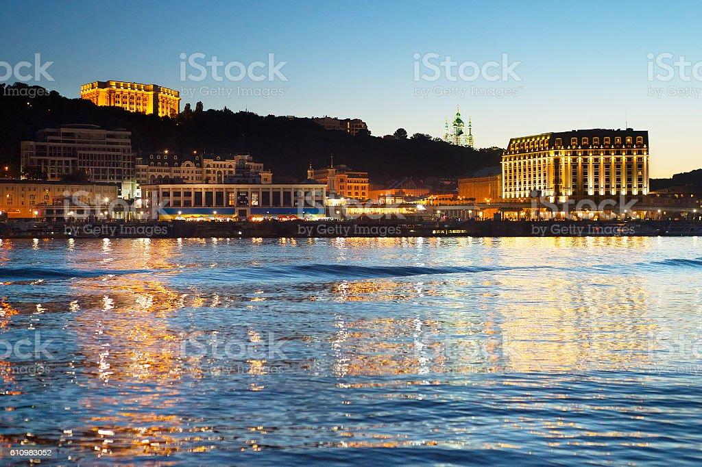 Kiev at twilight, Ukraine stock photo