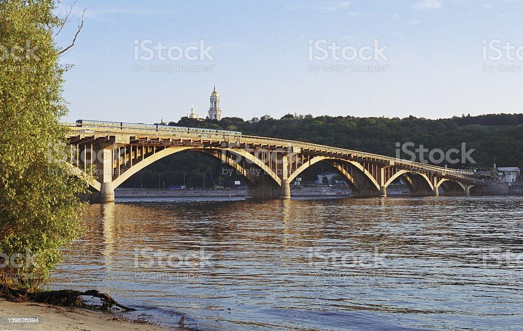 Kiev bridge over Dnepr royalty-free stock photo