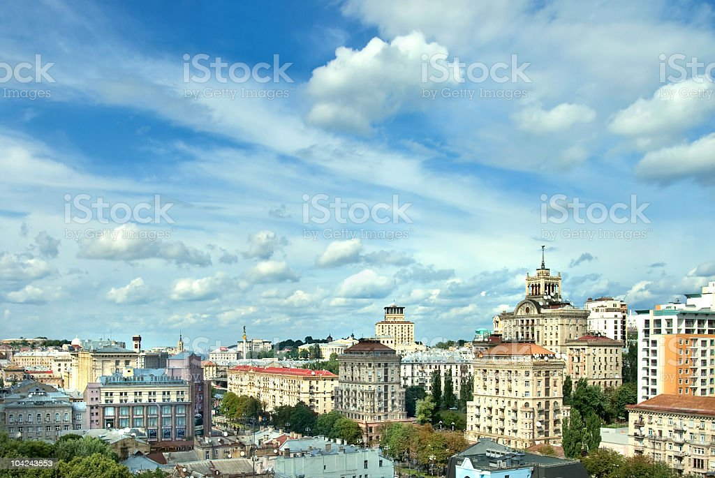 Kiev center cityscape and clouds on a sunny day stock photo